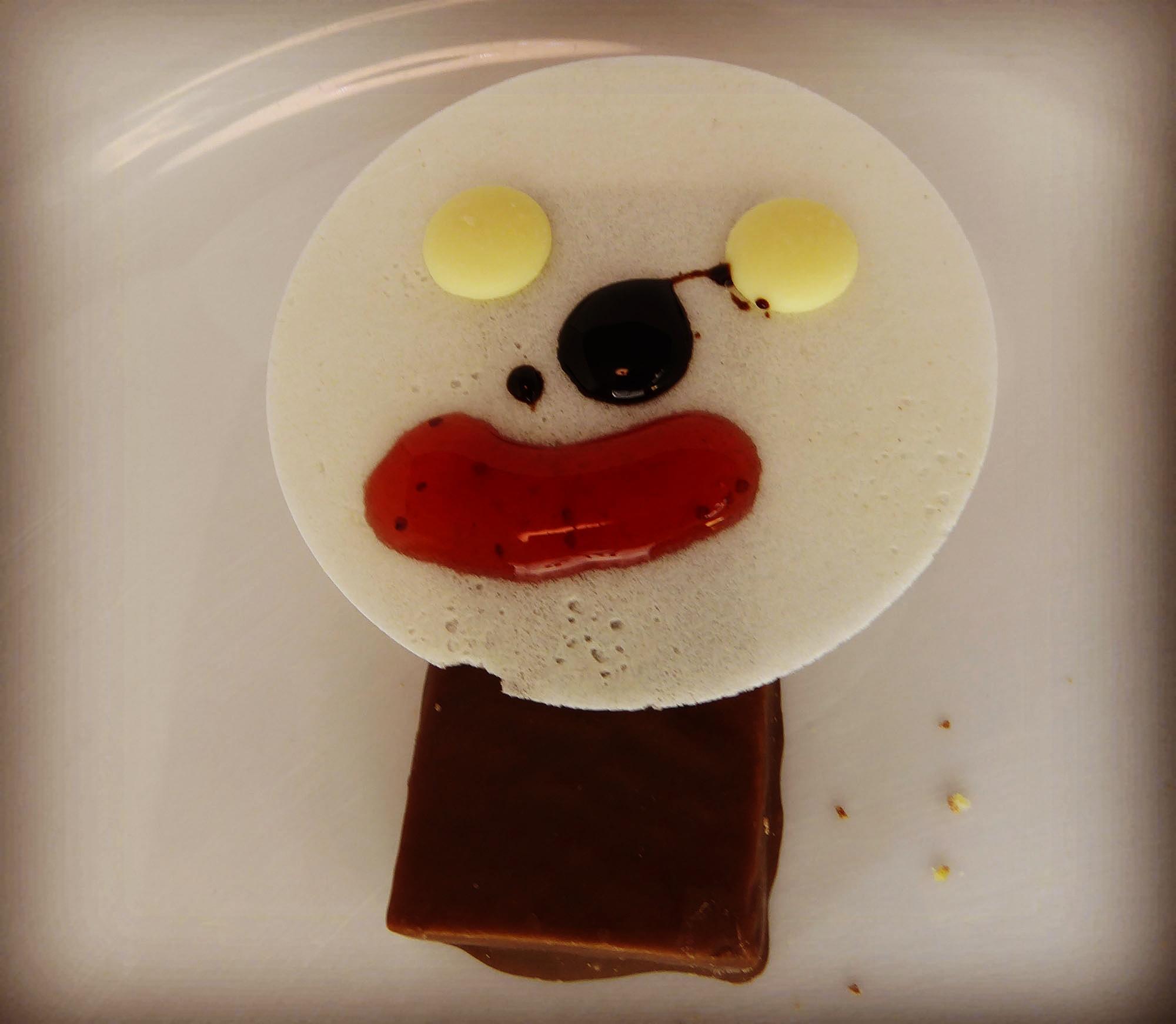 Sportnahrung Schokolade Nuss Protein Riegel Bar lustiges Gesicht
