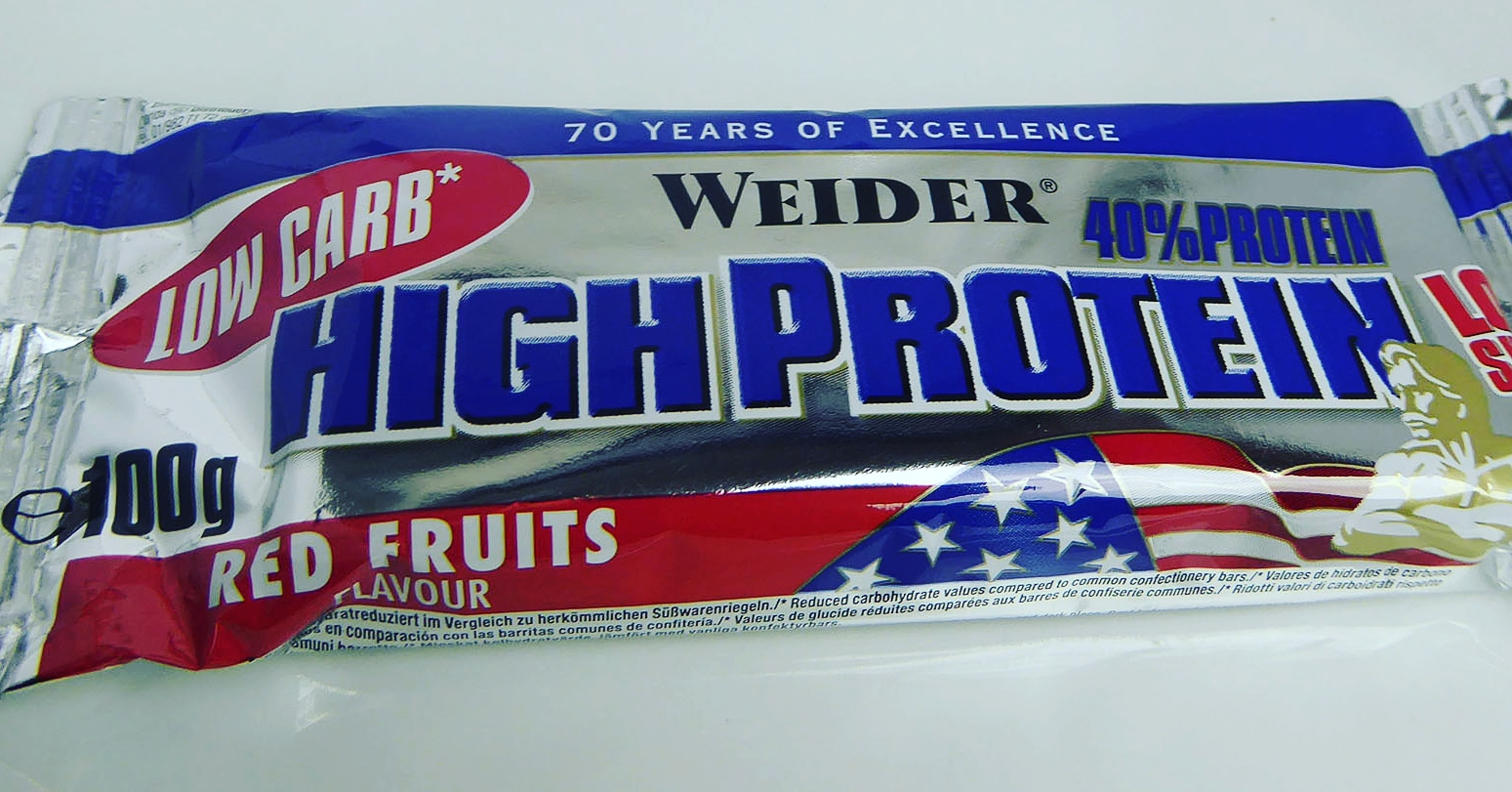 Weider High Protein Bar Low Sugar Red Fruits Rote Früchte Eiweißriegel Proteinriegel